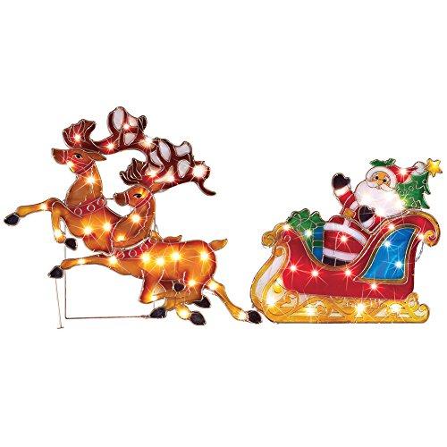 Outdoor Lighted Christmas Santa Reindeer Decoration - 2