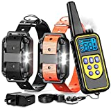 F-color Dog Training Collar, Waterproof and Rechargeable Dog Shock Collar 2600ft Remote Range Shock Collar for Dogs, with Beep Vibration Shock LED Light Mode for Medium and Large Dogs Larger Image