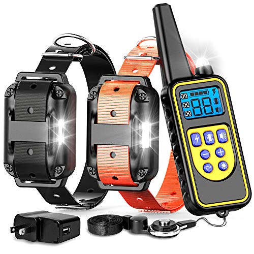 F-color Dog Training Collar, Waterproof and Rechargeable Dog Shock Collar 2600ft Remote Range Shock Collar for Dogs, with Beep Vibration Shock LED Light Mode for Medium and Large Dogs