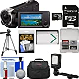 Sony Handycam HDR-CX440 8GB Wi-Fi 1080p HD Video Camera Camcorder 32GB Card + Case + LED Light + Battery + Tripod + Kit