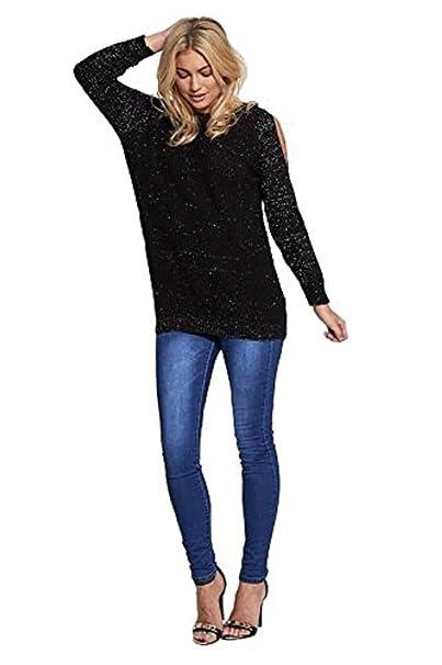 a3188272dccdd7 Ladies Cold Shoulder Glitter Lurex Knit Jumper US Size 6-12 at ...