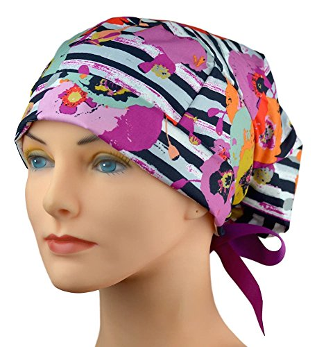 Womens Surgical Scrub Hat Adjustable Medium to Large with Ribbon Ties (Fusion Spice)