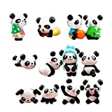 QTFHR 12 pcs (1 set) Cute Pandas Toys Figurines Playset, Cake Decoration