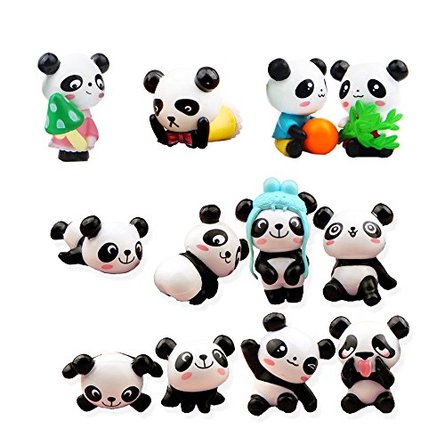 QTFHR 12 pcs (1 set) Cute Pandas Toys Figurines Playset, Cake Decoration -