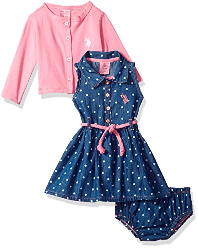 (U.S. Polo Assn. Baby Girls Dress with Sweater or Jacket, Denim Polka dots Aurora Pink 18M)