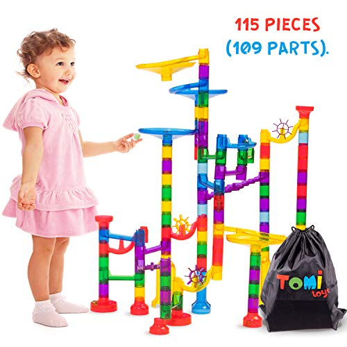 (Tomi Toys Marble Run Super Set - 109 Pieces (84 Action Pieces + 25 Glass Marbles) - Marble Maze Race Track Game for Kids 4, 5, 6 Years Old and Up Marble Run Sets for Educational Learning - STEM Buil)