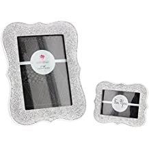 "Set of 2 Assorted Fashioncraft Silver Glittered Resin Frames - Holds 4""x6"" and 3""x2"" Photos"