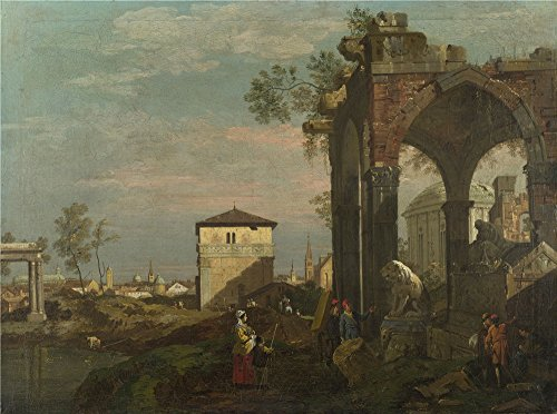 Oil Painting 'Style Of Bernardo Bellotto A Caprice Landscape With Ruins', 24 x 32 inch / 61 x 82 cm , on High Definition HD canvas prints is for Gifts And Bath Room, Dining Room And Gym (Caprice Electric Lamp)