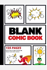 Blank Comic Book: Create Your Own Comic Strip, Blank Comic Panels, 135 Pages, Red (Large, 8.5 x 11 in.) (Action Comics) (Volume 1) Paperback