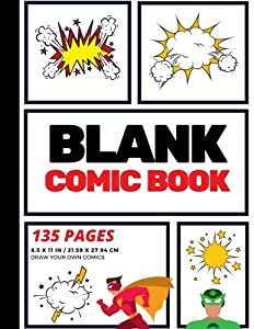 Blank Comic Book: Create Your Own Comic Strip, Blank Comic Panels, 135 Pages, Red (Large, 8.5 x 11 in.) (Action Comics) (Volume 1)
