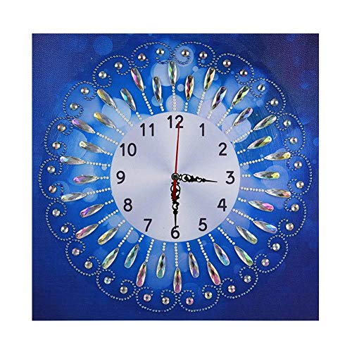 5D Diamond Painting Wall Clock Mosaic Making DIY Special Shaped Diamond Painting Novelty Flower Wall Clock Crafts Decor