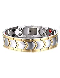 Mens Titanium Healthy Magnetic Therapy Bracelet Two Tone Gold Edge with Direction Design