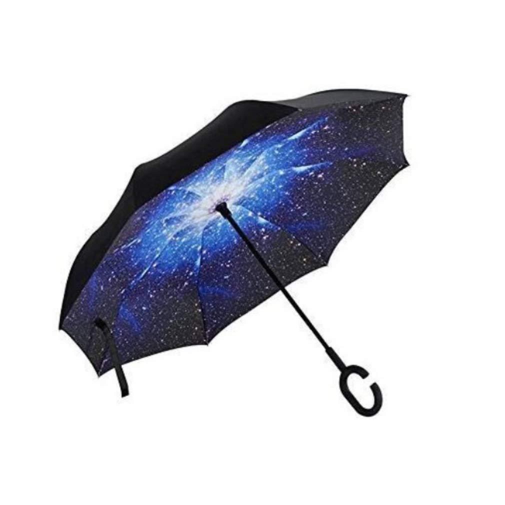 MOVINTO Reverse Umbrella - Umgedrehter Regenschirm - C-Griff - idealer Autofahrerschirm - hä lt die Nä sse im Schirm-Ihr Auto bleibt trocken - Steht alleine - (Space) RU-01-S