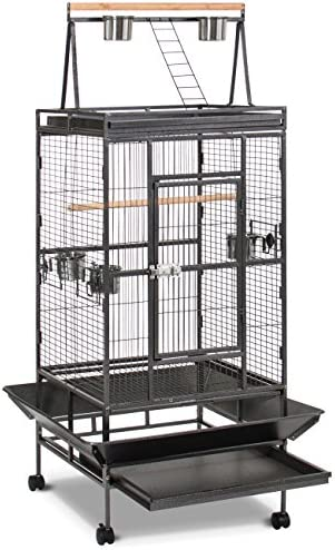Best Choice Products 68in Durable Bird Cage w Long Wooden Perch, Play Area, and Rolling Wheels – Black