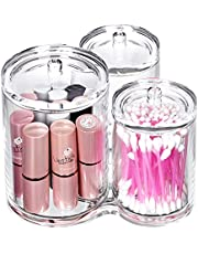 Bekith 3pc Acrylic Clear Cotton Ball and Swab Organizer