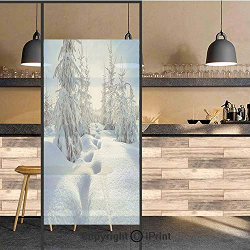 3D Decorative Privacy Window Films,Winter Landscape with Forest and Blue Sky Frosted Trees Footprints Seasonal Nature,No-Glue Self Static Cling Glass film for Home Bedroom Bathroom Kitchen Office 24x7
