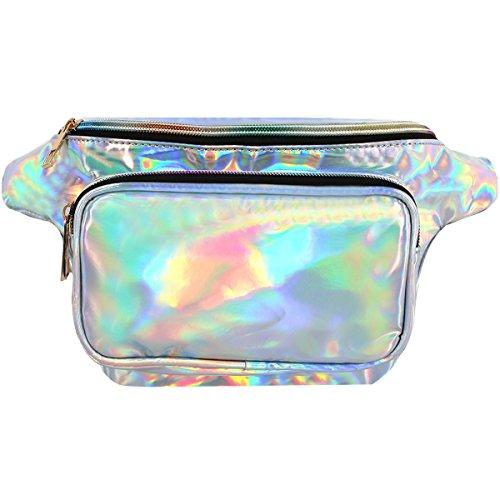 Unisex Silver Hologram Waterproof Laser Leather Fanny Pack W