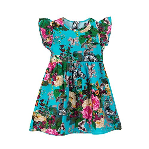 vermers Hot Sale Baby Girls Kids Dresses - Infant Toddler Floral Sleeveless Party Clothes Princess Dress(24M, Blue) -