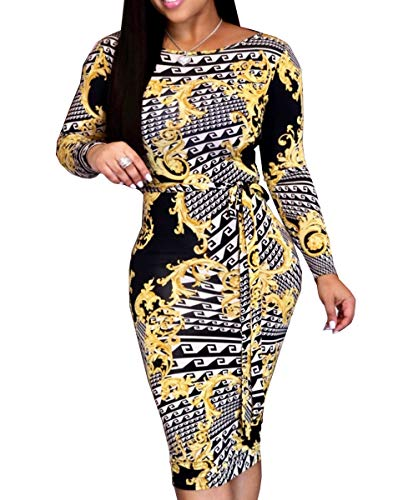 - Women's Floral Sexy Midi Juniors Dresses Casual Bodycon Long Sleeve Club Outfits