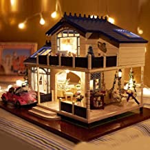 WYD DIY Wooden Dollhouse,3D Luxury Provence Villa Furniture Kits With Light,Creative X-mas Gift