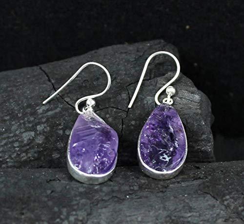 Amethyst drop earring, rough amethyst jewellery, Casual Office Wear Jewelry,925 sterling silver jewelry, Gift for ()