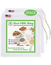 Pro Quality Nut Milk Strainer Bag Pack 2 Large 10X12inch 200 Micron Fine Mesh Nylon Filter Food Grade BPA Free Ultra Strong Reusable Multi Use for Kitchen Milk Tea Juices Cold Brew