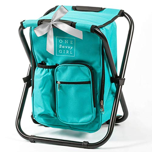 Chair Tailgating Folding Tailgate (One Savvy Girl Ultralight Backpack Cooler Chair - Compact Lightweight and Portable Folding Stool - Perfect for Outdoor Events, Travel, Hiking, Camping, Tailgating, Beach, Parades & More)
