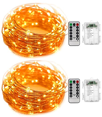 Gold Twinkling Christmas Lights - Led Fairy Lights String 2 PACK 16.5 ft of Flash Twinkling 50 leds Battery Operated Waterproof Copper Remote for Thanksgiving Christmas Tree Wedding Party Bedroom Twinkle Decoration Outdoor Indoor 16.4
