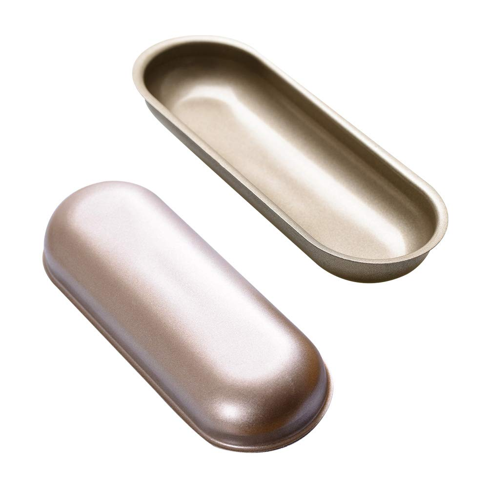 Bakerdream Hot Dog Bun Pan Hotdog Bread Mold Non Stick Bakeware 7 inch Oval Hot Dog Mould Pack of 2 (7'' Oval 2pcs) by Bakerdream