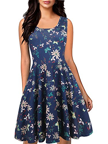 oxiuly Women's Sleeveless Casual Pockets Plain Flowy Simple T-Shirt Cocktail Party Loose Dress OX239 (XL, Navy Blue) (Neck Sleeveless Scoop Dress)