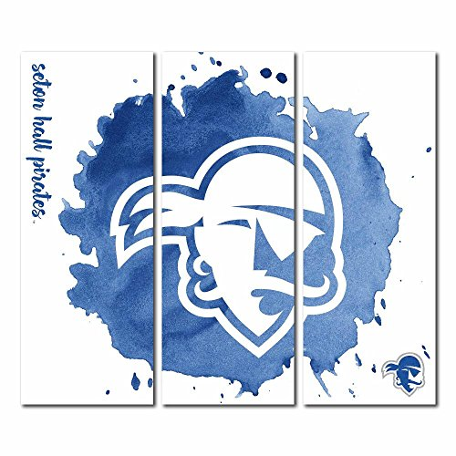Seton Hall University Pirates Triptych Canvas Wall Art Watercolor