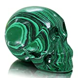 Large 5 inch Natural Quartz Crystal Skull, Collectible Figurines,Mayan Alien Crystal Skull, Healing (Malachite Skull)