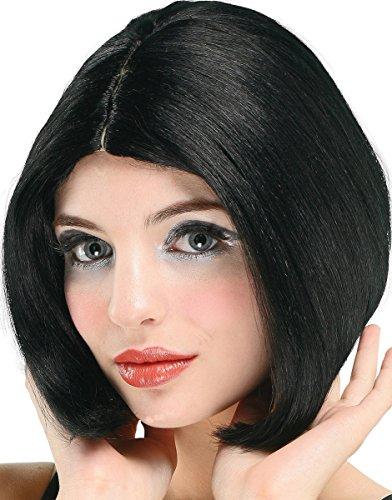 Womens Fancy Musical Dress Party Centre Parting Short Cut Artificial Wig Black ()