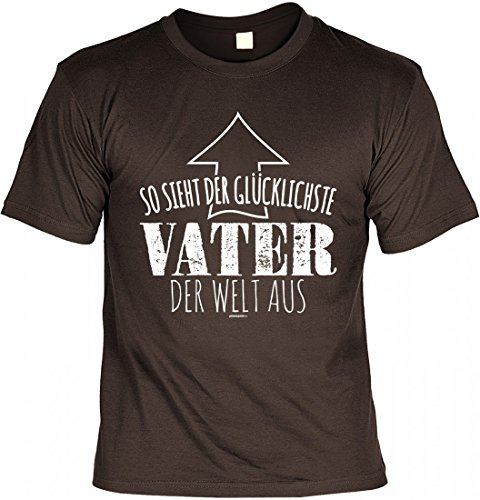 T-Shirt Papa - So sieht der glücklichste Vater der Welt aus - Geschenk Idee Humor zum Vatertag oder Geburtstag - braun