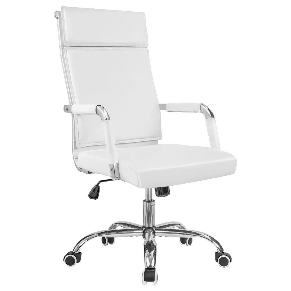 Homall Office Chair Modern Desk Chair Mid-Back Computer Chair Fancy Task Chair PU Leather Executive Swivel Chair Conference Chair with Thick Backrest Armrests (White)