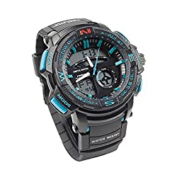 FODONG Mens Sport Watches Dual Time Back Light Water Resistant Sports Watch Outdoor Fashion Analog Digital Watch for Men Black-Blue