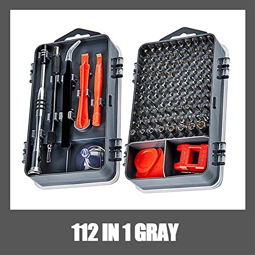 112 1つのドライバーセット磁気ドライバービットトルクスマルチ携帯電話の修復ツールキット電子デバイスハンドツールで (Color : 112 IN 1 GRAY)