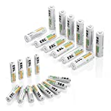 EBL 24 Sets Rechargeable Batteries ( AA 2800mAh 12 Counts and AAA 1100mAh 12 Counts)