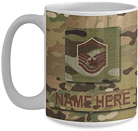 US Air Force (USAF) Master Sergeant (MSgt) E7 OCP Coffee Cup - Personalized  Military OCP Uniform 15 oz Mug - Customize with Name/Text/Rank (White)