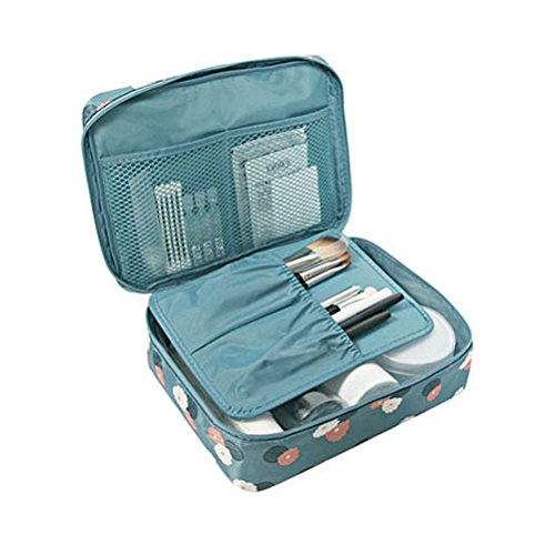 Travel Portable Organizer Cosmetic Bag, Jewelvwatchro Portable Hanging Toiletry Bag for Women or Men for vacation (Blue Daisy1)
