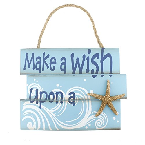 """10.4""""x8"""" Nautical Wood Jute Rope Hanging Welcome Sign Make a Wish Upon a Starfish"""