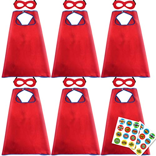 D.Q.Z Superhero Capes and Masks for Kids Hero Dress Up Party-6 Pack (Red) -