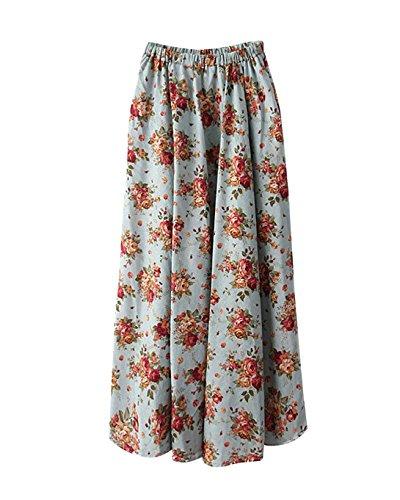 Lin Voyager Swing t Line Plage Longue Color Jupe Femme 5 lastique Longue Littrature Taille Style A Grande Floral Et Maxi Taille Jupe Art t Imprim Boho fwxq6dPa