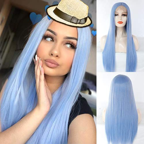 Blue Bird Natural Pastel Blue Hairstyle Long Straight Wigs Heat Resistant Fiber Women Hair Light Blue Synthetic Lace Front Wig]()