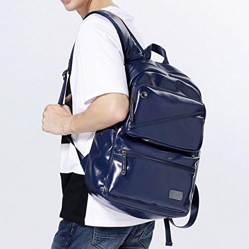 Sincere® Fashion Rucksack / Zipper Rucksäcke / Street fashion / Multifunktions- / Leder Schultertasche / Schulranzen / Outdoor-Freizeit-Rucksack / Tasche / Computer-Tasche Männer-Navy Blau