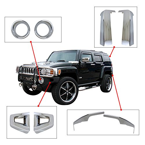 8PCS FULL SET ABS CHROME EXTERIOR BUMPER PILLAR COVER LAMP RIM 06-09 HUMMER H3