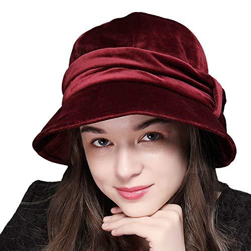 FADVES Womens Velvet Hats Wide Brim Fedora Bowler Cap Cloche Elegant Church Hat Wine Red