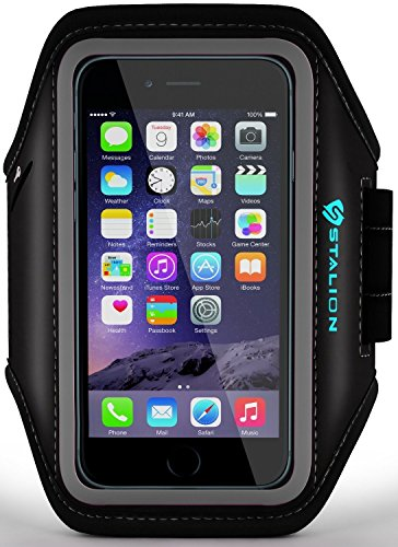 iPod Touch Armband: Stalion Sports Running & Exercise Gym Sportband (Jet Black) Water Resistant + Sweat Proof (for Apple iPod Touch 5th & 6th Gen) - Apple Ipod Touch Sports Armband
