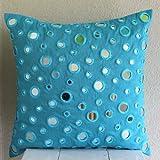 Luxury Aqua Blue Throw Pillow Covers, Mirror Polka Dots Throw Pillows Cover, 16''x16'' Pillow Case, Square Silk Pillow Covers, Polka Dot Contemporary Decorative Throw Pillow Covers - Blue Mirror