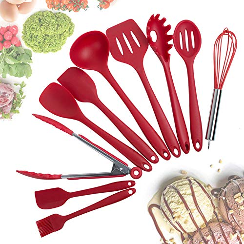 ixaer Silicone Kitchen Utensils Cooking 10 Piece Non-Stick Environmental Protection Cookware Silicone Kitchen Gadgets Tools Gifts - Cookware Tool Kitchen Red